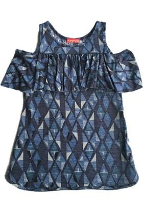 Karamela Çocuk Elbise Omuzu Açık Lacivert Desenli