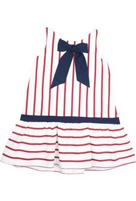 Karamela Nisan Elbise Beyaz - Kırmızı Çizgili