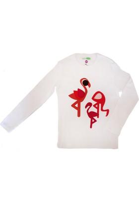 Decaf Plush Flamingo Aplike Uzun Kollu T - Shirt