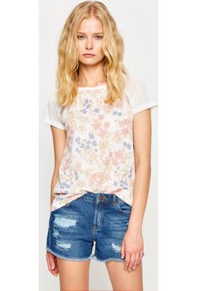 Koton Kadın Çiçekli T-Shirt Beyaz