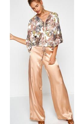 Koton Kadın Geniş Paça Pantolon Sarı