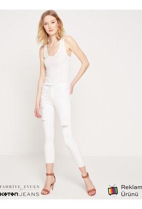 Koton Kadın Jeans Pantolon Beyaz (Fahriye Evcen For Koton)
