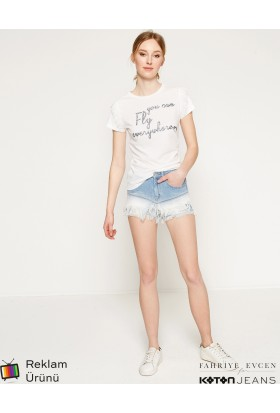 Koton Kadın Jeans Şort Mavi (Fahriye Evcen For Koton)