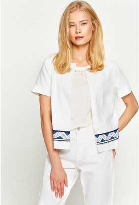 Koton Kadın Desenli Ceket Beyaz