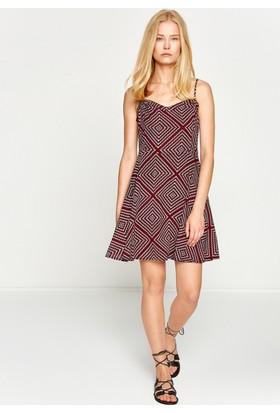 Koton Kadın Desenli Elbise Kırmızı
