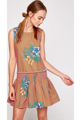 Koton Kadın Çiçekli Elbise Turuncu