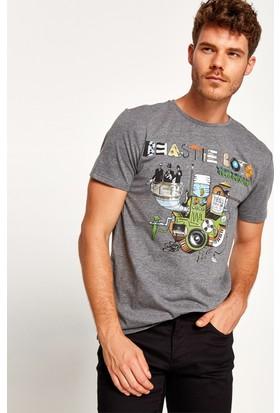 Koton Erkek Müzik Lisanslı Beastieboys Baskılı T-Shirt Gri