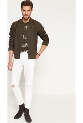 Koton Erkek Yırtık Pantolon Beyaz