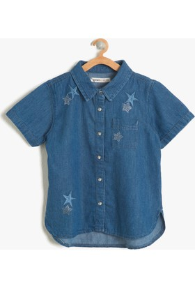 Koton Kız Çocuk Yıldız Desenli Gömlek Mavi