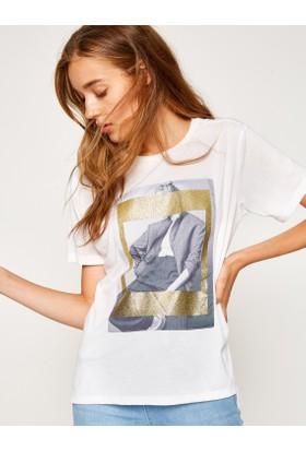 Koton Kadın Baskılı T-Shirt Beyaz