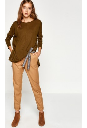 Koton Kadın Kemer Detaylı Pantolon Ekru