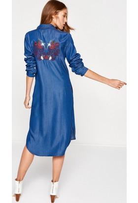 Koton Kadın İşlemeli Elbise Mavi