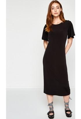 Koton Kadın Omuz Detaylı Elbise Siyah