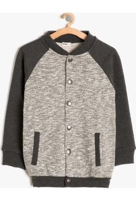 Koton Erkek Çocuk Düğme Detaylı Sweatshirt Gri