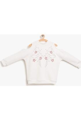 Koton Kız Çocuk Omuz Detaylı Sweatshirt Ekru