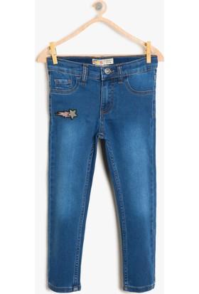 Koton Kız Çocuk İşlemeli Jen Pantolon Mavi