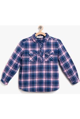 Koton Kız Çocuk Kareli Gömlek Gri