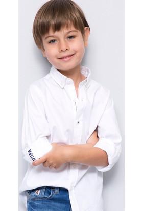U.S. Polo Assn. Erkek Çocuk Cedcolor-Fw Gömlek Beyaz