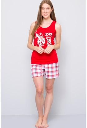 U.S. Polo Assn. Kadın Şort Takımı Kırmızı