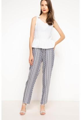 DeFacto Kadın Yüksek Bel Desenli Pantolon Mavi