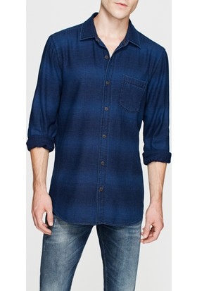 Mavi Tek Cep İndigo Gömlek