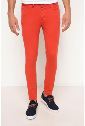 DeFacto Erkek Gabardin 5 Cep Dar Kalıp Pantolon Kırmızı