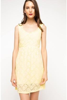 DeFacto Kadın Askılı Elbise Sarı