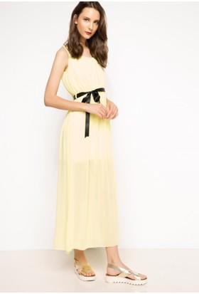 DeFacto Kadın Askılı Uzun Elbise Sarı
