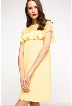 DeFacto Kadın Dantel Elbise Sarı