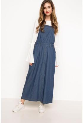 DeFacto Kadın Denim Salopet Elbise Lacivert
