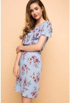 DeFacto Kadın Desenli Elbise Mavi