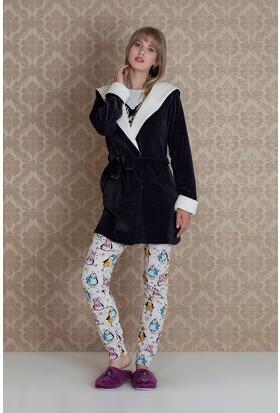 Hays Pingua Kadın Kadife Sabahlıklı 3'lü Pijama Takımı