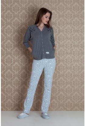 Hays Norda Kadın Önden Çıtçıtlı Uzun Pijama Takım