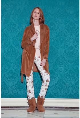 Hays Browni Kadın Kadife 3'lü Pijama Takımı