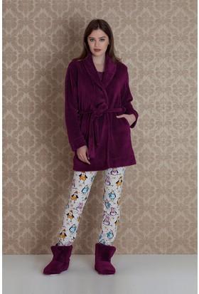 Hays Pingua Kadın Wellsoft Sabahlıklı 3'lü Pijama Takımı