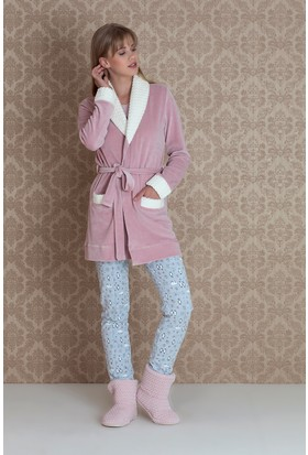Hays Norda Kadın Kadife Sabahlıklı Pijama Takım