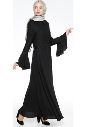 Güpür Detaylı Elbise - Siyah - Nihan