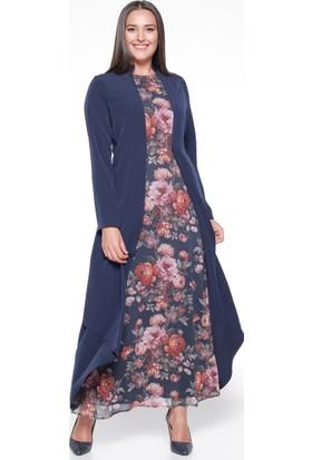 Çiçekli Elbise - Lacivert - Sevilay Giyim