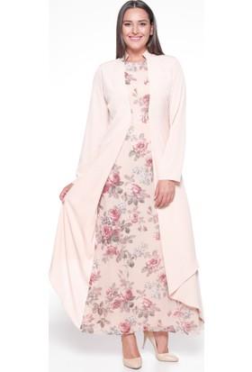 Çiçekli Elbise - Pudra - Sevilay Giyim