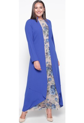 Çiçekli Elbise - Saks - Sevilay Giyim