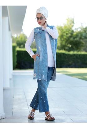 İncili Kot Yelek&Pantolon 2'li Takım - Mavi - Selma Sarı Design