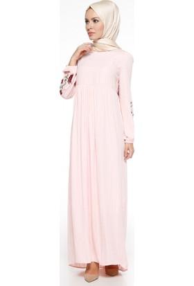 Kolları Nakış İşlemeli Elbise - Pudra - Tuncay