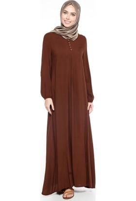Birit Detaylı Elbise - Kahverengi - Ginezza