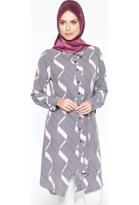 Desenli Tunik - Lacivert Pudra - CML Collection