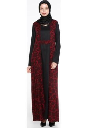 Çiçekli Elbise - Bordo - CML Collection