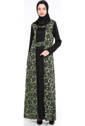 Çiçekli Elbise - Haki - CML Collection