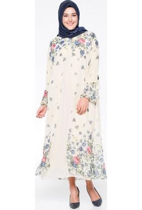 Şifon Parçalı Elbise - Bej - CML Collection