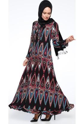 Desenli Elbise - Mürdüm - CML Collection