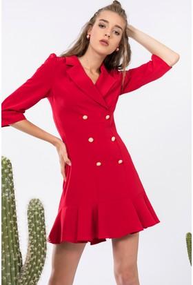 İroni Volanlı Blazer Elbise