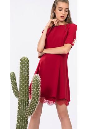 İroni Kol Detaylı Elbise